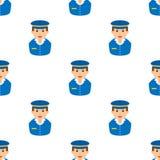 Modello senza cuciture dell'icona piana dell'avatar del postino Immagine Stock