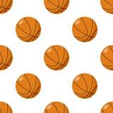 Modello senza cuciture dell'icona piana della palla di pallacanestro royalty illustrazione gratis