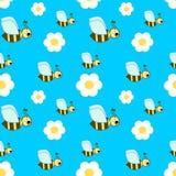 Modello senza cuciture dell'illustrazione dell'ape sveglia del fumetto Fotografia Stock Libera da Diritti