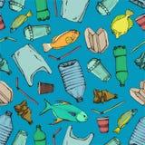 Modello senza cuciture dell'inquinamento marino Raccolta disegnata a mano di simboli di scarabocchio dell'illustrazione di vettor illustrazione vettoriale