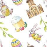 Modello senza cuciture dell'insieme felice di Pasqua su fondo bianco con la chiesa, il ramo, il coniglietto, il dolce e l'uovo illustrazione vettoriale