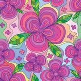 Modello senza cuciture dell'onda della piena pagina della foglia del petalo del fiore quattro illustrazione di stock