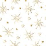 Modello senza cuciture dell'oro di lusso di Natale e del nuovo anno con le stelle Cartolina d'auguri, invito, aletta di filatoio Fotografie Stock