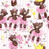 Modello senza cuciture dell'orsacchiotto sveglio ballerina del fumetto dell'illustrazione dell'acquerello royalty illustrazione gratis