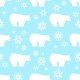 Modello senza cuciture dell'orso bianco con i fiocchi di neve bianchi e blu Immagine Stock