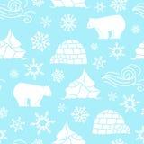Modello senza cuciture dell'orso bianco con i fiocchi di neve bianchi e blu Immagini Stock