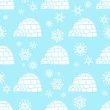 Modello senza cuciture dell'orso bianco con i fiocchi di neve bianchi e blu Illustrazione Vettoriale