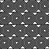 Modello senza cuciture dell'ottagono di vettore in bianco e nero astratto di spirale Fotografia Stock
