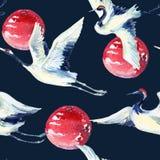 Modello senza cuciture dell'uccello asiatico della gru dell'acquerello royalty illustrazione gratis