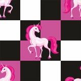Modello senza cuciture dell'unicorno rosa illustrazione vettoriale