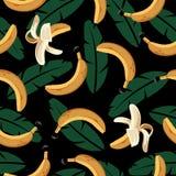 Modello senza cuciture della banana con le foglie illustrazione vettoriale