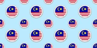 Modello senza cuciture della bandiera del giro della Malesia Fondo malese Icone del cerchio di vettore Simboli geometrici Struttu illustrazione di stock