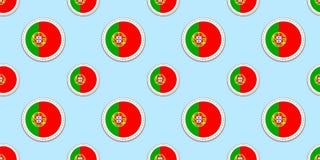Modello senza cuciture della bandiera del giro del Portogallo Fondo portoghese Icone del cerchio di vettore Simboli geometrici St illustrazione vettoriale