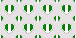 Modello senza cuciture della bandiera della Nigeria Stikers nigeriani delle bandiere nazionali Simboli dei cuori di amore di vett illustrazione di stock