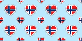 Modello senza cuciture della bandiera della Norvegia Il norvegese di vettore inbandiera gli stikers Simboli dei cuori di amore St royalty illustrazione gratis