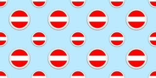 Modello senza cuciture della bandiera rotonda dell'Austria Fondo austriaco Icone del cerchio di vettore Simboli geometrici Strutt royalty illustrazione gratis