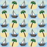 Modello senza cuciture della barca e della palma Fotografia Stock