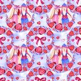 Modello senza cuciture della bella illustrazione con i cuori rosa dell'acquerello Disegno romantico del fondo per le cartoline d' illustrazione di stock