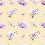 Modello senza cuciture della bella peonia bianca Mazzo dei fiori Struttura floreale Disegno dell'indicatore illustrazione vettoriale