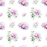 Modello senza cuciture della bella peonia bianca Mazzo dei fiori Struttura floreale Disegno dell'indicatore illustrazione di stock