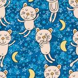 Modello senza cuciture della buona notte del gatto Fotografia Stock