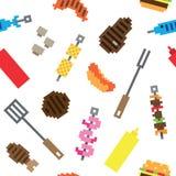 Modello senza cuciture della carne del barbecue del pixel Fotografie Stock