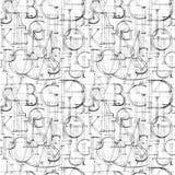 Modello senza cuciture della carta da parati con Roman Classic Alphabet moderno illustrazione di stock
