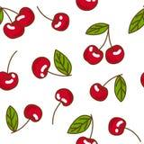 Modello senza cuciture della ciliegia della frutta di bacche Stile piano, illustrazione di vettore Fotografie Stock