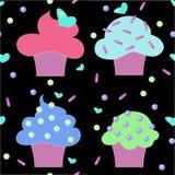 Modello senza cuciture della confetteria dei dolci dei dolci dei muffin Fotografia Stock Libera da Diritti