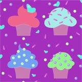 Modello senza cuciture della confetteria dei dolci dei dolci dei muffin Immagine Stock