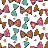 Modello senza cuciture della cravatta a farfalla variopinta dell'illustrazione di vettore su fondo bianco royalty illustrazione gratis