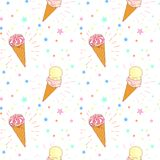 Modello senza cuciture della crema brillante del gelato alla frutta su fondo bianco con le stelle ed i cerchi Illustrazione del f Immagine Stock Libera da Diritti