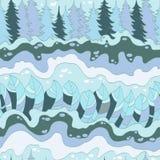 Modello senza cuciture della foresta e del fiume di inverno Immagine Stock