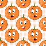 Modello senza cuciture della frutta arancio del fumetto Immagini Stock