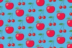 Modello senza cuciture della frutta blu-chiaro di vettore con le mele e le ciliege Immagini Stock