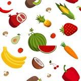 Modello senza cuciture della frutta e della verdura di vettore Immagini Stock