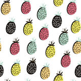 Modello senza cuciture della frutta moderna Fondo con l'ananas Grande per il tessuto dei bambini, il tessuto, ecc Illustrazione d Fotografie Stock