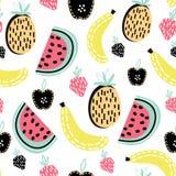 Modello senza cuciture della frutta moderna Grande per il tessuto dei bambini, il tessuto, ecc Illustrazione di vettore Fotografia Stock