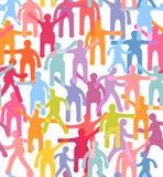 Modello senza cuciture della gente. Illustrazione variopinta della folla Fotografie Stock Libere da Diritti