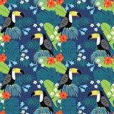 Modello senza cuciture della giungla tropicale con l'uccello del tucano, i fiori dell'ibisco e le foglie di palma Progettazione p royalty illustrazione gratis