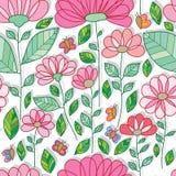 Modello senza cuciture della grande piccola farfalla dell'elemento del fiore illustrazione di stock