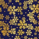 Modello senza cuciture della marina dei fiocchi di neve dorati di Natale illustrazione di stock