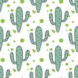 Modello senza cuciture della menta di vettore verde dei cactus Immagine Stock Libera da Diritti