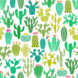 Modello senza cuciture della pianta del cactus di vettore Fondo del fiore dei cactus, stampa royalty illustrazione gratis