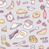 Modello senza cuciture della prima colazione disegnata a mano sveglia Fotografie Stock Libere da Diritti