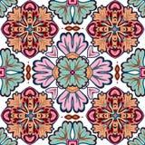 Modello senza cuciture della rappezzatura dalle mattonelle marocchine e portoghesi, Azulejo, ornamenti Fotografia Stock