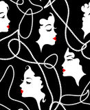 Modello senza cuciture della retro ragazza di modo Women di modello, morti, labbra rosse sul fondo dei fronti illustrazione di stock