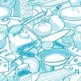 Modello senza cuciture della roba di cucina Fotografia Stock Libera da Diritti