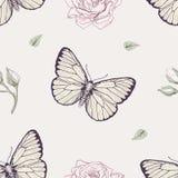 Modello senza cuciture della rosa e della farfalla Fotografia Stock