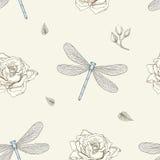 Modello senza cuciture della rosa e della libellula Fotografia Stock